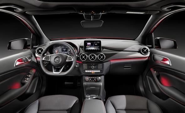 B 250 4MATIC (W 246) 2014, jupiterrot, AMG Line, Interieur, Leder schwarz RED CUT B 250 4MATIC (W 246) 2014, jupiter red, AMG Line, interior, RED CUT black leather