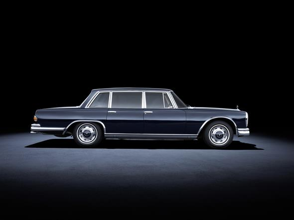 Mercedes-Benz 600 (W 100, 1963 bis 1981). Im Bild ein Fahrzeug aus dem Jahr 1963. Mercedes-Benz 600 (W 100, 1963 to 1981). The car in the photo dates from 1963.