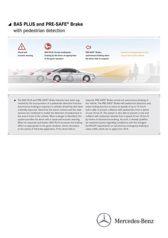Mercedes-Benz S-Klasse (W 222) 2013, BAS PLUS und PRE-SAFE Bremse