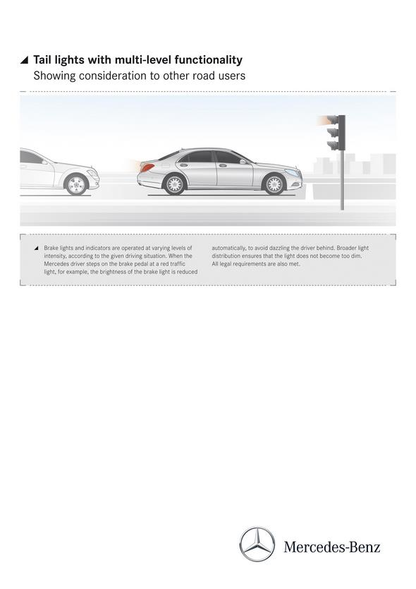 Mercedes-Benz S-Klasse (W 222) 2013, Tail lights with multi-level functionality