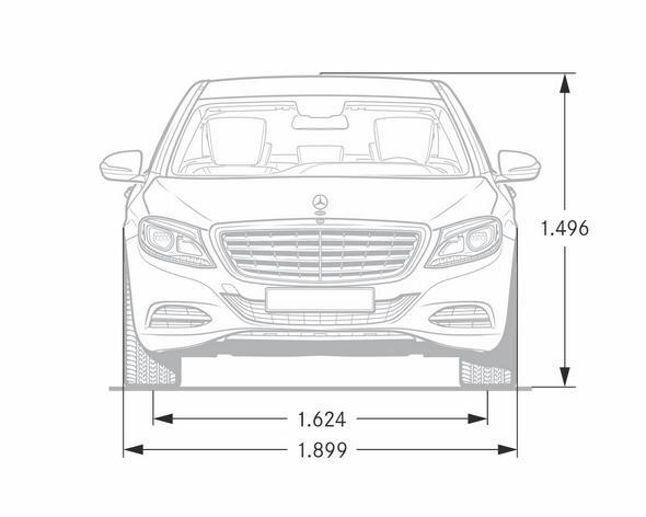 """S-Klasse, V222 (2013) - Maßzeichnung Front, S-Klasse""""Lang-Version"""""""
