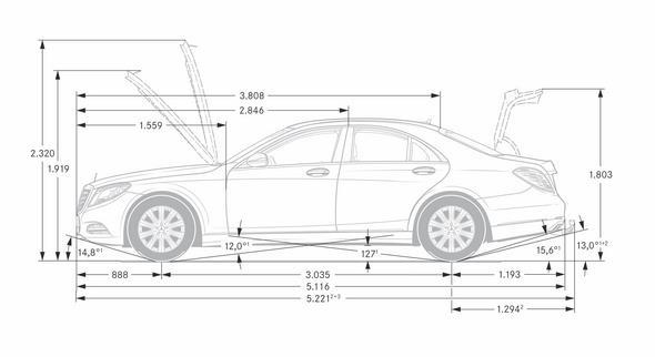 """S-Klasse, W222 (2013) - Maßzeichnung Seitenansicht, S-Klasse""""Normal-Version"""""""