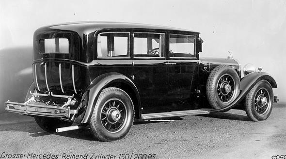 """Mercedes-Benz Typ """"Großer Mercedes"""" (Baureihe W 07, 1930 bis 1938), Pullman-Limousine aus dem Jahr 1931 mit ausklappbarer Kofferablage statt Kofferraum."""