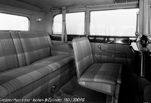 """Mercedes-Benz Typ """"Großer Mercedes"""" (Baureihe W 07, 1930 bis 1938): Innenraum einer Pullman-Limousine aus dem Jahr 1931."""