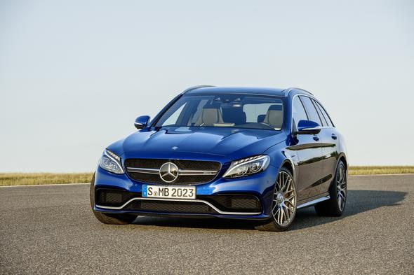 Mercedes-AMG C 63 (BR 205) T-Modell / estate; 2014; Exterieur: brilliantblau metallic; LED Intelligent Light System, AMG Night-Paket Exterieur, AMG Keramik Hochleistungs-Verbundbremsanlage, wärmedämmend dunkel getöntes Glas Exterior: brilliant blue metallic; LED Intelligent Light System, AMG Night package, AMG high-performance ceramic composite braking system, heat-insulating dark-tinted glass