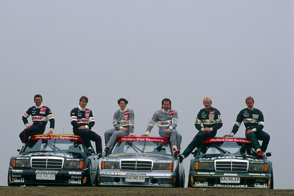 DTM, Fotoshooting Mercedes-DTM-Fahrer, Hockenheimring, 23.03.1993 Roland Asch, Bernd Schneider, AMG Sonax AMG-Mercedes 190E 2.5-16 Evo2 Ellen Lohr, Klaus Ludwig, AMG Berlin 2000 AMG-Mercedes 190E 2.5-16 Evo2 Kurt Thiim, Joerg van Ommen, Zakspeed Diebels AMG-Mercedes 190E 2.5-16 Evo2