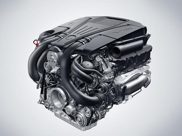 V8 Biturbo Benzinmotor des GLE 500 4Matic (2015) V8 biturbo petrol engine of the GLE 500 4Matic
