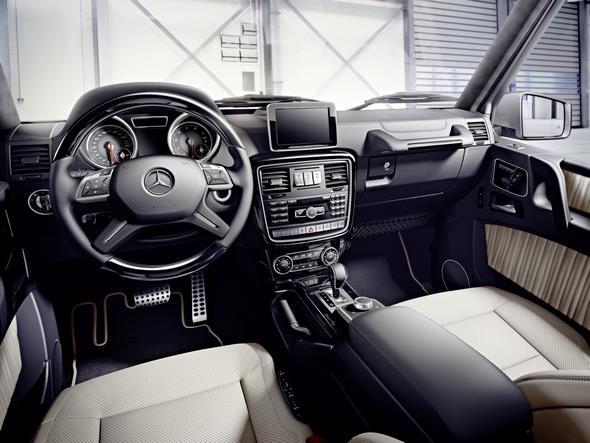 Mercedes-Benz G-Class (BR 463) 2015; G 350 d Interieur: designo porzellan, Zierteile designo Klavierlack schwarz interior: designo porcelain, designo black piano lacquer trim