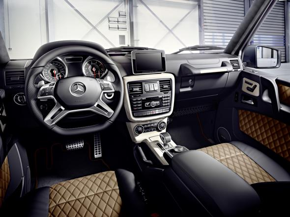 Mercedes-Benz G-Class (BR 463) 2015; AMG G 65; Interieur: designo Nappa Leder schwarz/sand, Zierteile designo Zierelemente Klavierlack champagnerweiß interior: designo nappa leather black/sand, designo piano lacquer trim in champagne white