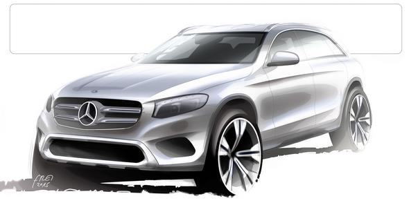 Mercedes-Benz GLC, Designskizze Mercedes-Benz GLC, design sketch exterior