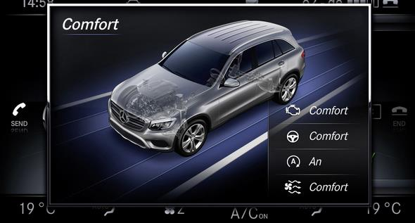 Mercedes-Benz GLC 2015. Die DYNAMIC SELECT-Programme und die Offroad-Animationen werden auf dem zentralen Media-Display inszeniert. In Echtzeit werden hier verschiedene Parameter wie Steigung, Seitenneigung, Lenkeinschlag, Kompasskurs oder die AIR BODY CONTROL-Einstellungen dynamisch dargestellt. Mercedes-Benz GLC 2015. The DYNAMIC SELECT modes and off-road animations are shown on the central media display. Various parameters such as gradient, tilt angle, steering angle, compass course or the AIR BODY CONTROL settings are shown here dynamically in real time.