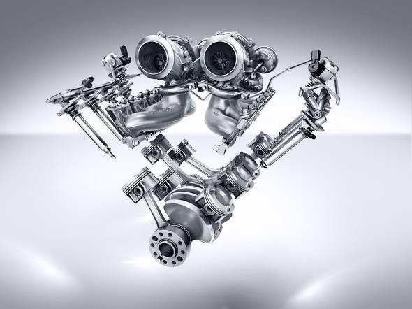 Mercedes-AMG GT (C 190) 2014; AMG V8-Zylinder-Benzinmotor mit Biturboaufladung, Baureihe M178, V-Anordnung der Kolben, Kurbelwelle, Turbolader AMG V8 petrol engine with biturbocharging, M178 series, 'V' arrangement of pistons, crankshaft, turbocharger