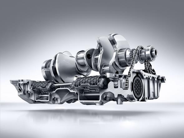 Mercedes-AMG GT (C 190) 2014; AMG V8-Zylinder-Benzinmotor mit Biturboaufladung, Baureihe M178, 2-stufige Ölpumpe AMG V8 petrol engine with twin turbocharging, M178 model series, two-stage oil pump