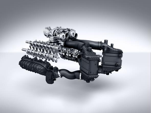 Mercedes-AMG GT (C 190) 2014; AMG V8-Zylinder-Benzinmotor mit Biturboaufladung, Baureihe M178, indirekte Luft-Wasser-Ladeluftkühlung AMG V8 petrol engine with twin turbocharging, M178 model series, indirect air/water intercooling