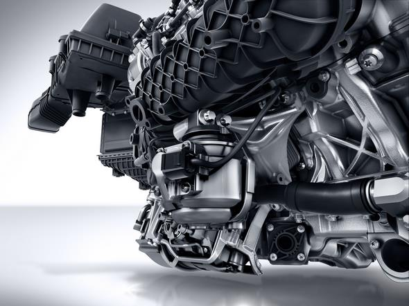 Mercedes-AMG GT (C 190) 2014; AMG V8-Zylinder-Benzinmotor mit Biturboaufladung, Baureihe M178, dynamische Motorlager AMG V8 petrol engine with twin turbocharging, M178 model series, dynamic engine mounts