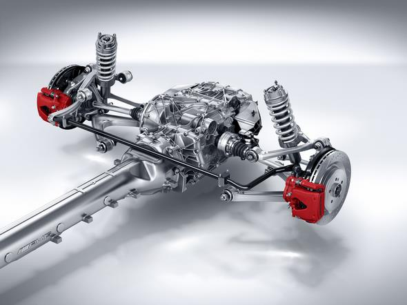 Mercedes-AMG GT (C 190) 2014; AMG SPEEDSHIFT DCT 7-Gang-Sportgetriebe in Transaxle-Anordnung an der Hinterachse AMG SPEEDSHIFT DCT 7-speed sports transmission in transaxle configuration at the rear axle