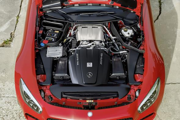 Mercedes-AMG GT (C 190) 2014, exterior: fire opal, V8 biturbo engine, 462 to 510 hp, 600 to 650 Nm