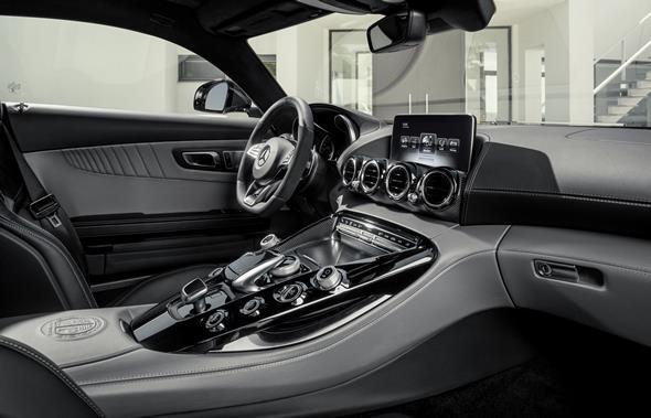 Mercedes-AMG GT (C 190) 2014, exterior: designo iridium silver magno, interior: two-tone leather silver pearl / black