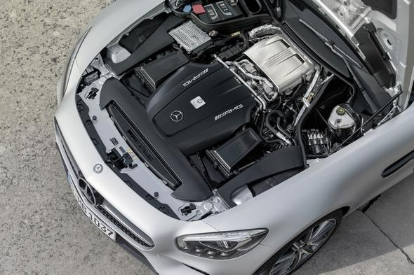 Mercedes-AMG GT (C 190) 2014, exterior: designo iridium silver magno, V8 biturbo engine, 462 to 510 hp, 600 to 650 Nm