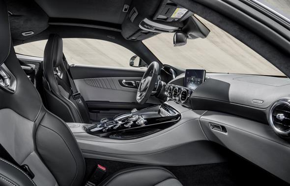 Mercedes-AMG GT (C 190) 2014, exterior: designo iridium silver magno, interior: two-tone leather silver pearl / black