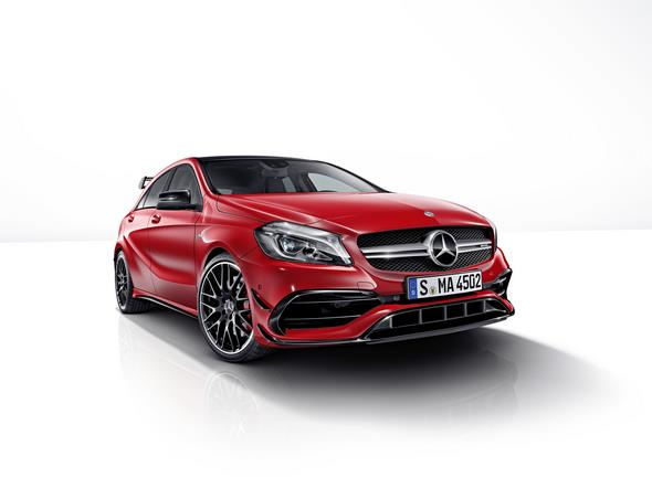 Mercedes-AMG A 45 4MATIC, jupiter rot, AMG Night-Paket, AMG Aerodynamik-Paket, jupiter red, AMG Night package, AMG Aerodynamics package