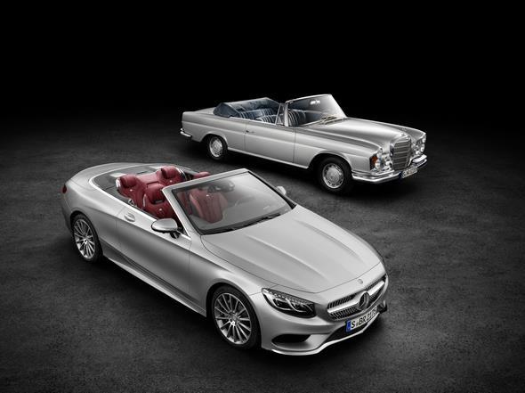 Mercedes-Benz S-Klasse Cabrio von 2015 und das S-Klasse Cabrio der Baureihe W 111.