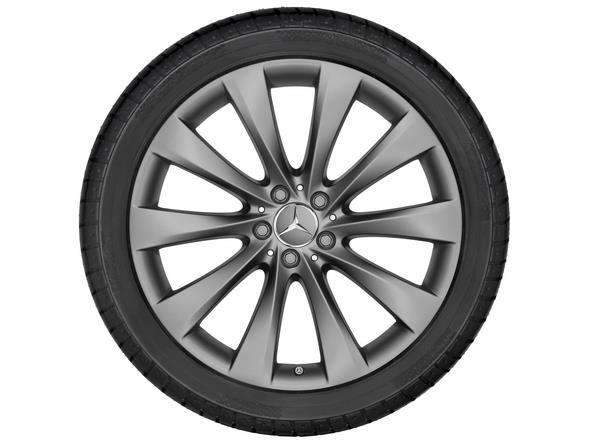 Original-Zubehör für das S-Klasse Cabriolet: 50,8 cm (20-Zoll) Leichtmetallrad im 10-Speichen-Design in himalayagrau matt Mercedes-Benz S-Class Cabriole genuine accessories: 10-spoke wheel, 50.8 cm (20 inch) in matt himalaya grey