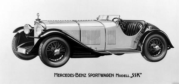 Sportwagen Mercedes-Benz Typ SSK, Bauzeit: 1928 bis 1932.