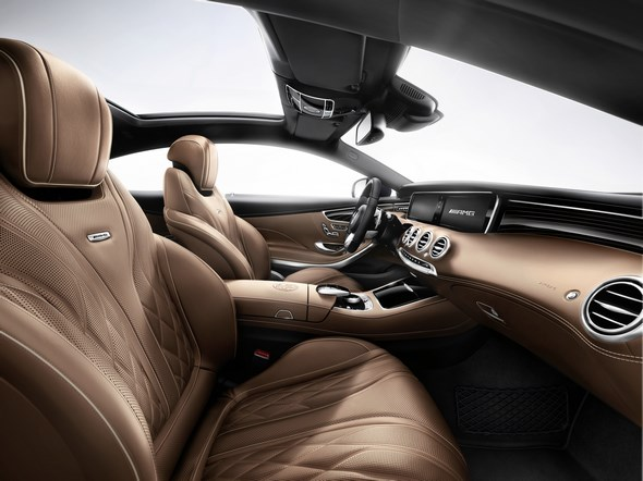 S 65 AMG Coupé, (BR 217), 2014;  Exterieur: anthrazitblau metallic, Interieur: designo Leder Exkusiv Nappa sattelbraun/schwarz;  Exterior: anthracite blue metallic, Interior: designo Exclusive nappa leather AMG saddle brown / black