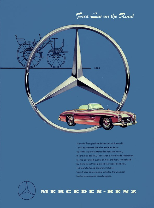 "Advertising Mercedes-Benz: ""Frist Car on the Road. From the first gasoline-driven cars of the world ...., Mercedes-Benz 190 SL"