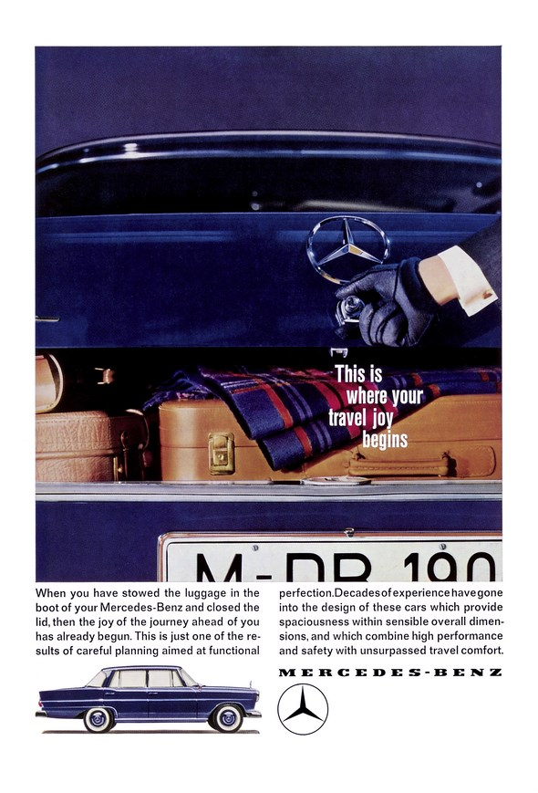 "Advertising Mercedes-Benz: ""This is where your travel joy begins - When you have stowed the luggage in the boot of ..."", Mercedes-Benz type W 111/112"