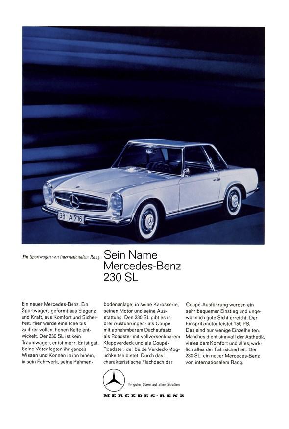 """Werbeanzeige Mercedes-Benz: """"Sein Name Mercedes-Benz 230 SL"""", Mercedes-Benz Baureihe W 113 (230 SL, 250 SL, 280 SL), 1963 - 1971"""
