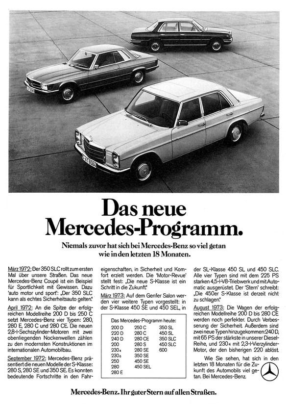 """Werbeanzeige Mercedes-Benz: """"Das neue Mercedes-Programm. Niemals zuvor hat sich bei Mercedes-Benz so viel getan wie in den letzten 18 Monaten"""", Das Bauprogramm von 1972, W 114/115, W 116, R 107"""