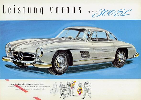 Mercedes-Benz Typ 300 SL Coupé, 1954-57; Zeichnung aus Prospekt, 1955