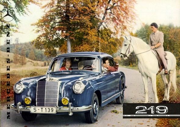 """Mercedes Typ 219 """"Ponton"""", 1956 - 1959. Titelseite eines Prospekts von 1957."""