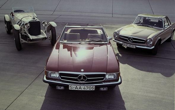 Mercedes-Benz Typ SL-Roadster der Baureihe W 107, Typ SSK, Typ Pagoden-SL, auf dem Hockenheimring.
