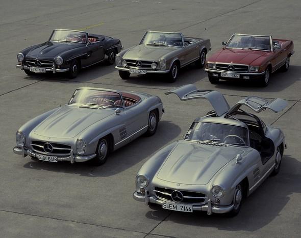 Von links, Mercedes-Benz Typ 190 SL-Roadster der Baureihe W 121, Typ Pagoden-SL der Baureihe W 113, Typ SL-Roadster der Baureihe W 107, Typ 300 SL-Roadster und Typ 300 SL-Coupé der Baureihe W 198, aus den Jahren 1954 - 1985