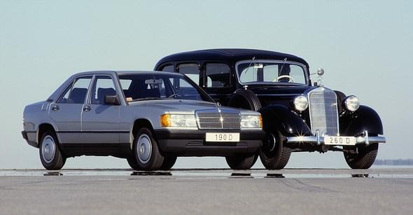 Mercedes-Benz Typ 190 D Kompaktklasse-Limousine der Baureihe 201 und Mercedes-Benz Typ 260 D Pullman-Limousine.