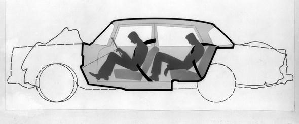 Schnittzeichnung des Mercedes-Benz der Baureihe W 111, zur Illustration der Sicherheitszelle, 1959