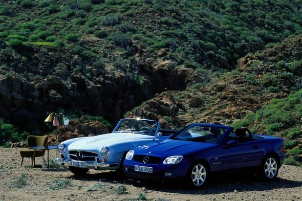 Mercedes-Benz Typ SLK 200 Kompressor der Baureihe 170 und Typ 190 SL der Baureihe W 121