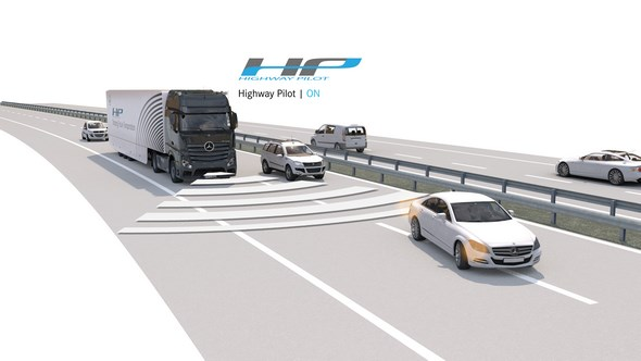 Mercedes-Benz Actros mit Highway Pilot auf der Autobahn (Highway Pilot ON)