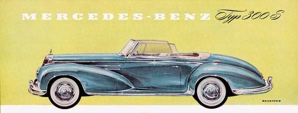 Mercedes-Benz Typ 300 Sc Roadster, 1955-58; Zeichnung aus dem Prospektblatt von 1955