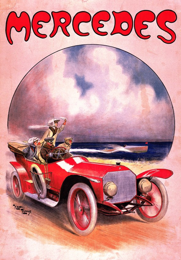 Mercedes 14/30 PS, Plakat von Henri Rudaux, um 1910