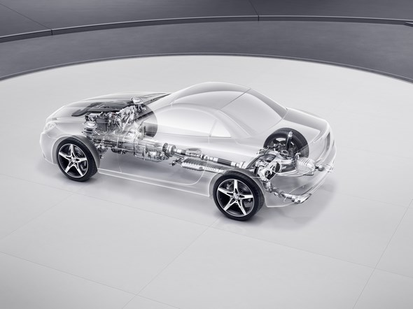 Mercedes-Benz SLC; Adaptives Verstellfahrwerk; adaptive adjustable suspension;